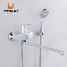 MYNAH Russia free shipping 2017 Bathroom Shower Faucet Bath Faucet Mixer Tap With Hand Shower Head Set Wall Mounted