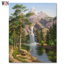 WEEN Stone Pines Pictures Oil  Painting By Number On Canvas DIY Landscape Digital Coloring By Number 40 x 50 cm 2017 New Gift