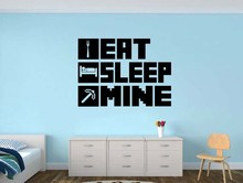 Buy New creative Minecraft EAT SLEEP MINE Gamer home decor Removable Vinyl Wall Sticker Decor art wall decal for $15.18 in AliExpress store