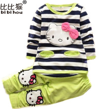 Bibihou 2017 Kids Clothes Sets Fashion Autumn 2pcs Sets Skirt Suit Hello Kitty Baby Girls Dresses Clothing Sets Shirt + Pants