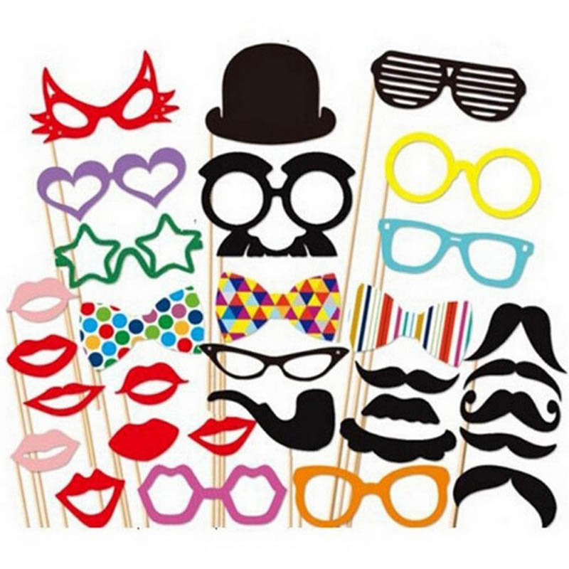 31PCS DIY Party Masks Photo Booth Props Mustache On A Stick Wedding Party 1 Set<br><br>Aliexpress