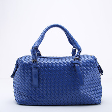Brand New Ladies Woven Leather Dumplings Handbag Cross Stitch Hobos Women's Knitting Boston Bag Large Casual Tote(China)