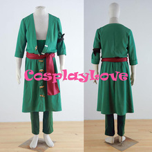 New Custom made Japanese Anime Green One Piece 2th Roronoa Zoro Cosplay Costumes From One Piece Cosplay