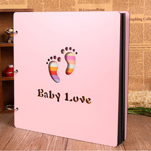 4 Styles 2 Colors 16 Inch Wooden Baby DIY Album Growth Photo Albums Creative Hand-paste Pink And Blue Colors(China)