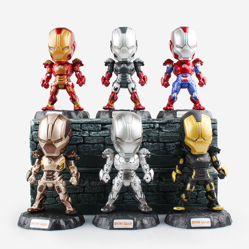 Movie Figure 11.5CM 6pcs/set Iron Man Figures with LED Light MK43 MK42 Iron Patriot PVC Action Figures Collection Toys Model<br><br>Aliexpress