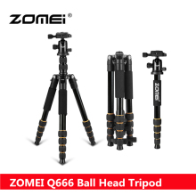2017 New ZOMEI Q666 Portable Professional Lightweight Tripod With Twist Lock Legs Ball Head Travel for Canon Nikon DSLR Camera(China)