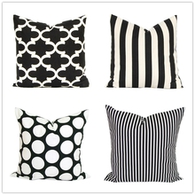 Modern Black White Stripes Outdoor Throw Pillow Cases Geometric Canvas Cushion Cover Decorative Sofa Pillow Covers, Pillowcase(China)