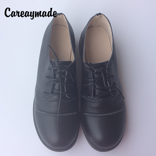 Careaymade-summer,Genuine Leather shoes,pure handmade black shoes ,the retro art mori girl Flats shoes,Vintage leather shoes.<br>