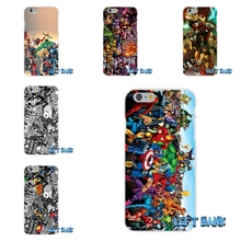 For iPhone 4 4S 5 5S 5C SE 6 6S 7 Plus Marvel Sticker Bomb Soft Silicone TPU Transparent Cover Case