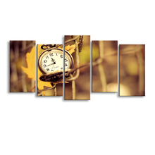 5 pieces of high-definition print clocks canvas prints painting poster and wall art living room picture SZ-001(China)