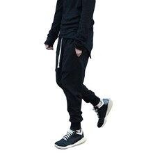 Nuevos hombres Pantalones harem negro casual pantalón largo sólido Correa  Cruz streetwear pantalones ropa deportiva hip hop bajo. 38b3ad9025d
