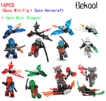 16pcs/lot Ninjagoes Kai Jay Cole Zane Nya Lloyd with mini Dragon crystal Time Blade Compatible legaoes blocks Kid toy BRAND NEW