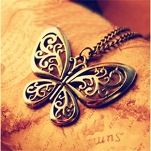 2016 Fashion Gold Color Long Chain Necklace/Ahiny Butterfly Fairy Necklace Jewelry Women