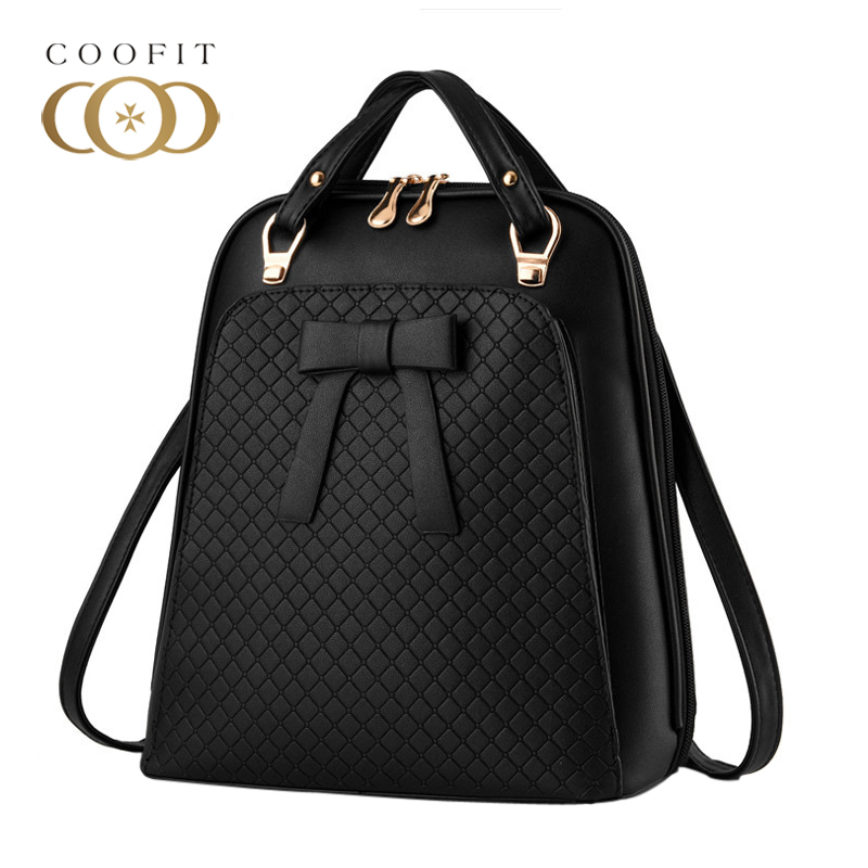 Coofit Female Mini Backpack Casual Bowknot PU Leather Travel Backpacks For Women Girls Teenagers Diamond Lattice Embossing Bags<br>