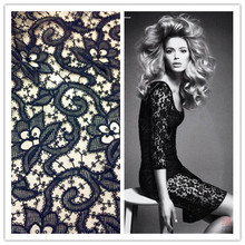 110cm wide water soluble cutout cloth outerwear overcoat three-dimensional flowers black lace fabric(China)