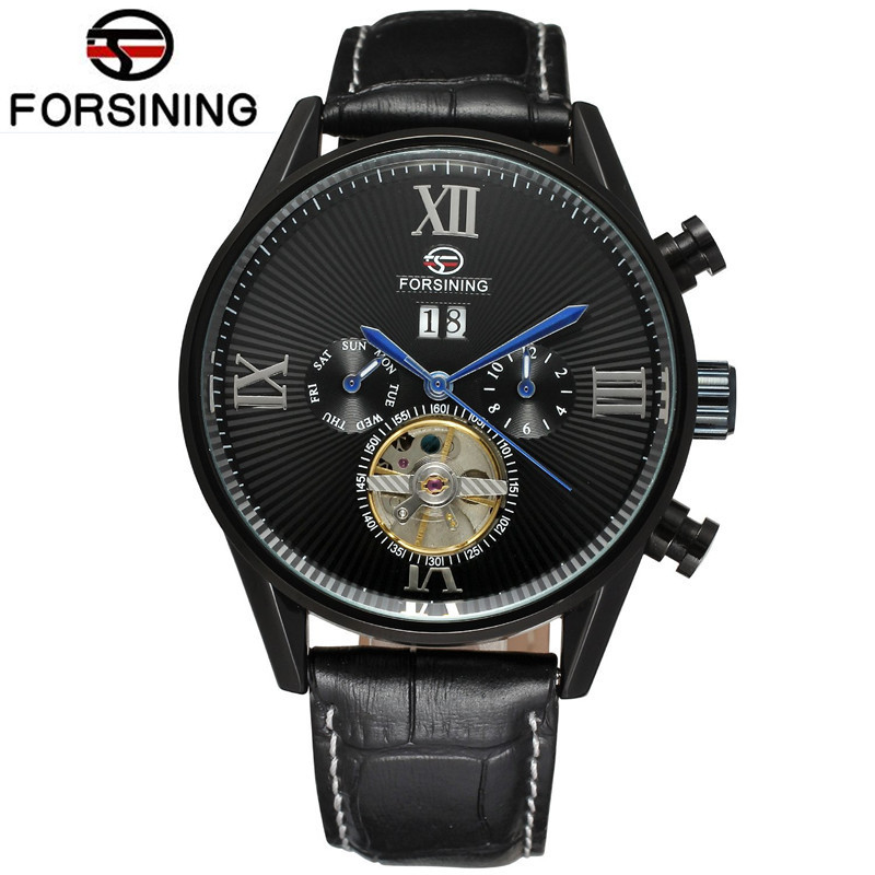 2017 New Forsining Mens Day/Week Tourbillion Auto Mechanical PU Leather Wristwatch Gift Box Free Ship  Gifts<br>