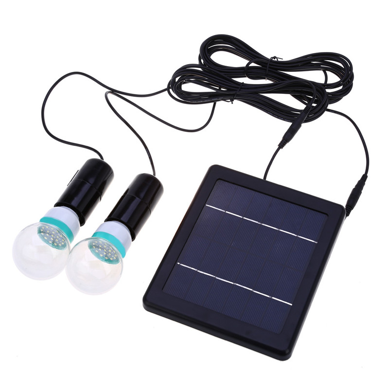 Outdoor/Indoor Solar Powered led Lighting System Light Lamp 2 Bulbs solar panel emergency light Camping light(China)