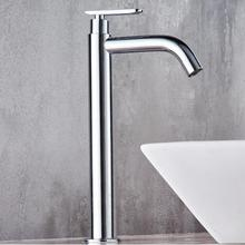 Free Shipping single cold basin faucet bathroom faucet basin mixer bathroom sink faucet tall chrome brass faucet for cold water(China)