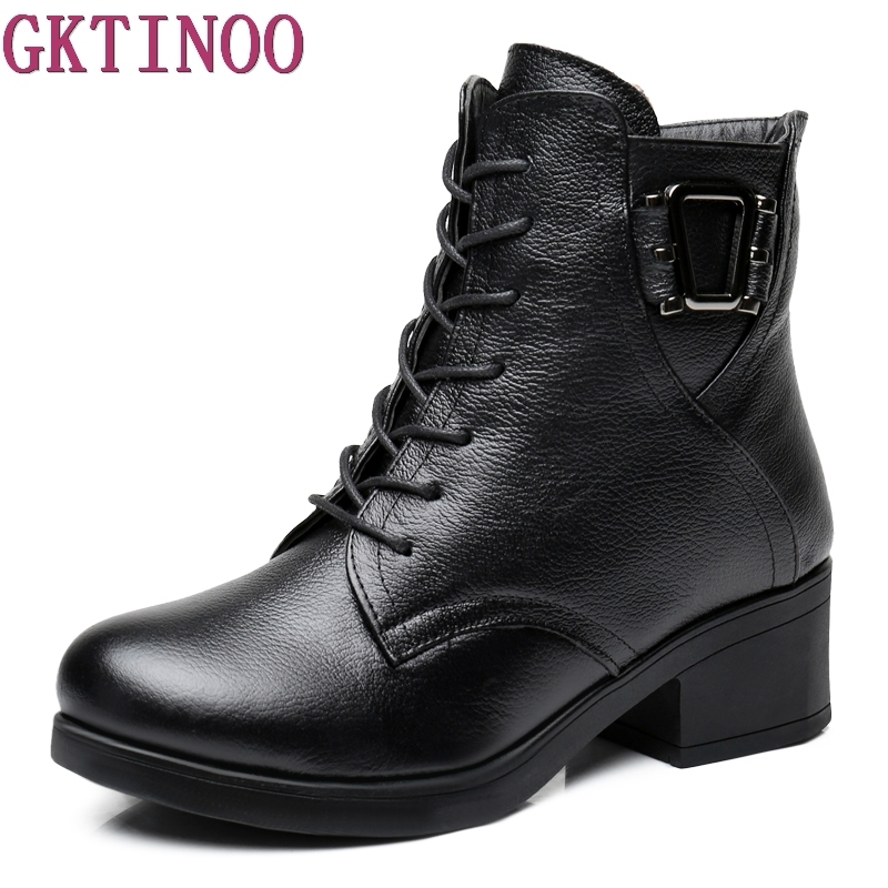 Women Ankle Boots Soft Genuine Leather Shoes Thick high Heel Platform Boots Winter Autumn Boots Warm Fur Big Size<br>
