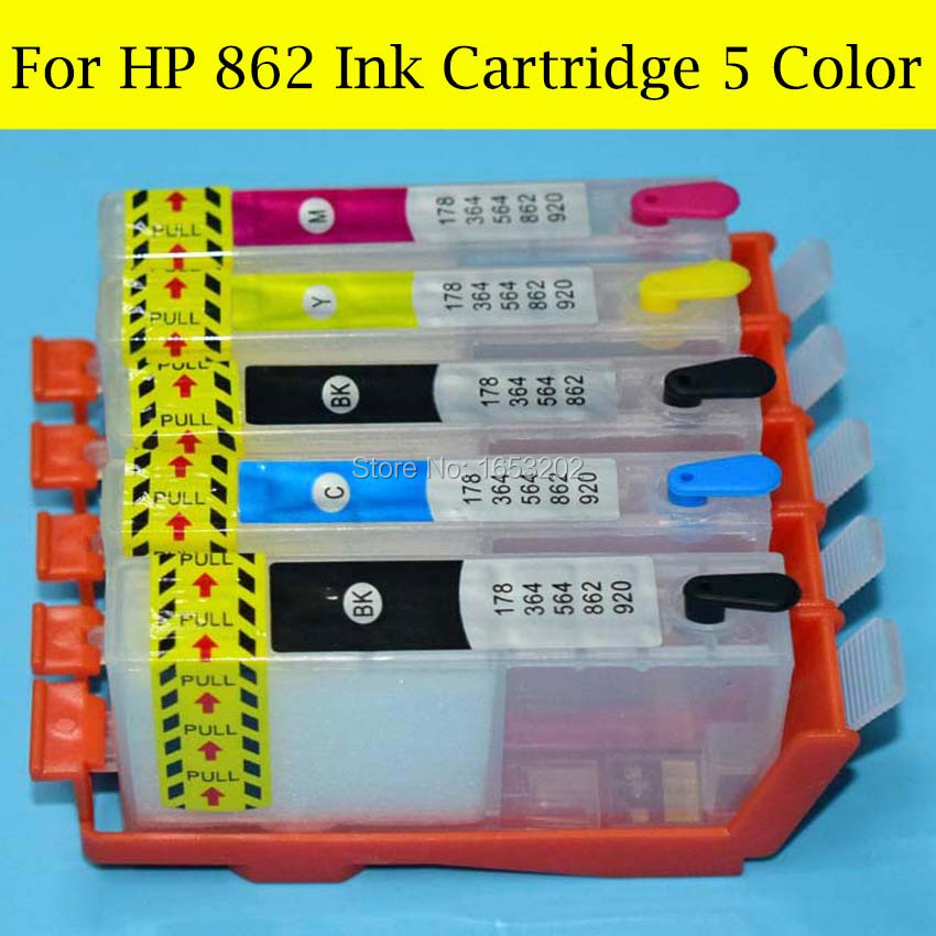 5 Pieces/Set With Auto Reset Chip For HP 862 XL Ink Cartridge For HP CB981D Q8291D CD028D Q8421D CC335D Printer Cartridge<br><br>Aliexpress