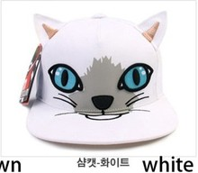 Fashion baseball caps snapback hats and cap cute lovely cat animal print hippop dancing cap adjusted 1pc