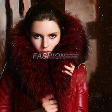 Free shipping  large raccoon fur collar female long thickening in down jacket coat  fashion women's warm genuine Leather coat