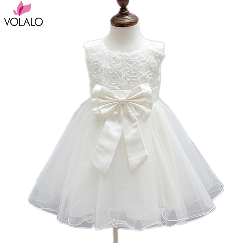Girl Dress Girls 2017 baptism dress Fashion White Lace Big Bow Party Tulle Flower Princess Wedding Dresses Baby Girl dress<br><br>Aliexpress