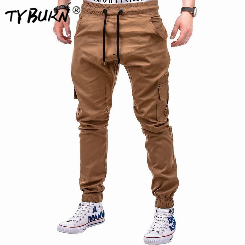 TYBURN 2019 Casual Joggers Solid Color Pants Men Elastic Long Trousers pantalon homme Military Army Cargo Pants Men Leggings