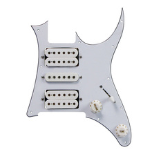 RHYME-US 3Ply HSH White/Black Loaded Pickguard Pre-Wired Pickguard For IBZ RG 7V Style Guitar(White/Black)(China)