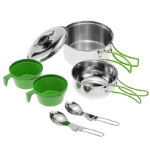 New Backpacking Cooking Picnic Bowl Pot Set Outdoor Camping Hiking Cookware Set  Stainless Steel Cook Set for 3-4 Person