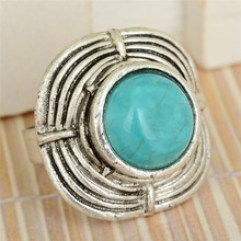 Mixed Shapes Blue Turquoises Oval Finger Rings For Women Men Ancient Silver Plated Ring Ethnic Vintage Jewelry 5pcs/lot