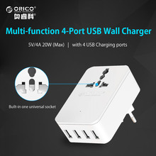 ORICO Universal 20 W Multi-Outlet Power Strip 1 AC Power Socket 4 USB Outlets Travel Converting Adapter for Smart Phone Tablet(China)