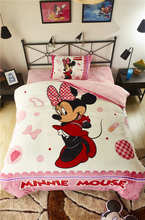 Pink Mickey Minnie Mouse 3D Printed Flannel Bedding Set Twin Full Queen Size Bed Covers Girls kid Bedroom Decor Winter Soft Warm(China)