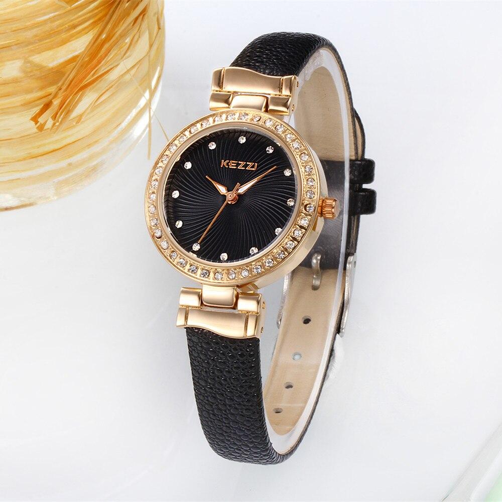 2017 Kezzi original brand fashion watch women rhinestones crystal leather strap ladies quartz-watch hour clock montre femme<br><br>Aliexpress