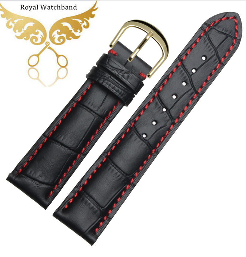 18mm 20mm 22mm Red Stitching Black Wrist Watch band Genuine Leather gold deployment Clasp Buckle<br><br>Aliexpress