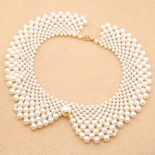 Fashion Korean Choker Statement Necklace Maxi Colar Simulated Pearl Beads Necklaces Pendants Big Necklace Collares Ppopulares