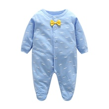 Spring Summer Baby Rompers climbing bow tie long sleeve Jumpsuit light blue clothes