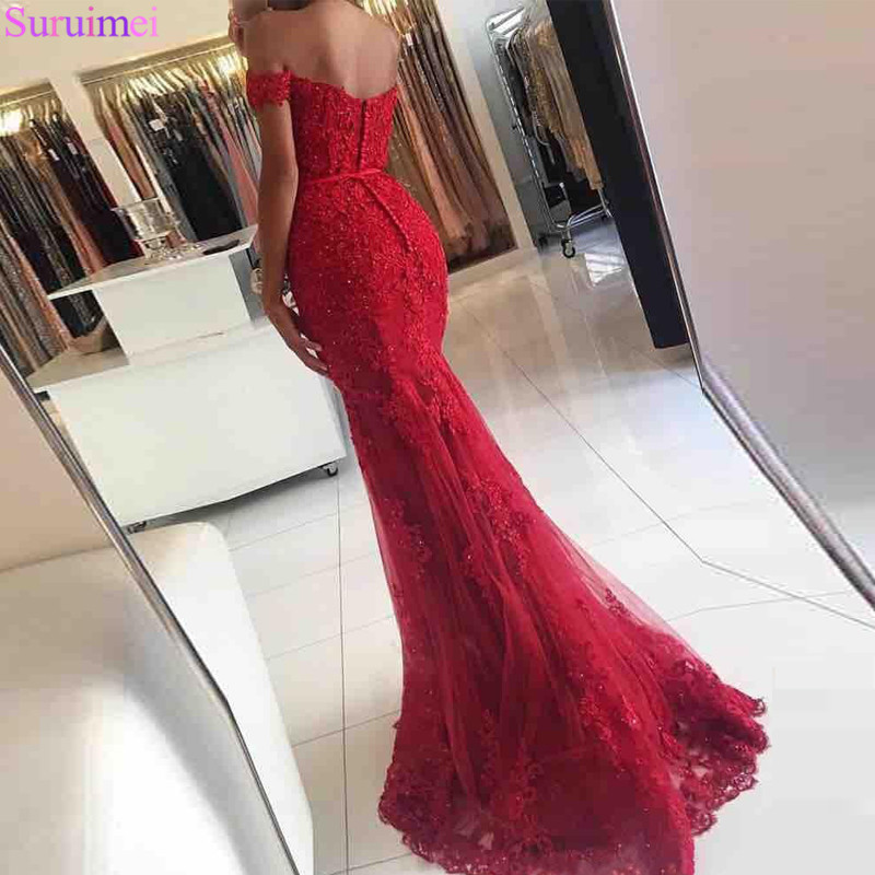 Sweetheart-Neck-Lace-Applique-Red-Mermaid-Evening-Dresses-2017-Custom-made-Court-Train-Sleeveless-Beads-Formal (1)