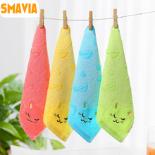 SMAVIA 4pcs/1 lot Kids&Baby Face Towel Bamboo Fiber+Cotton Fabric Absorbent Hand/Face Towel 28*28cm Towels Accept Mix Colors