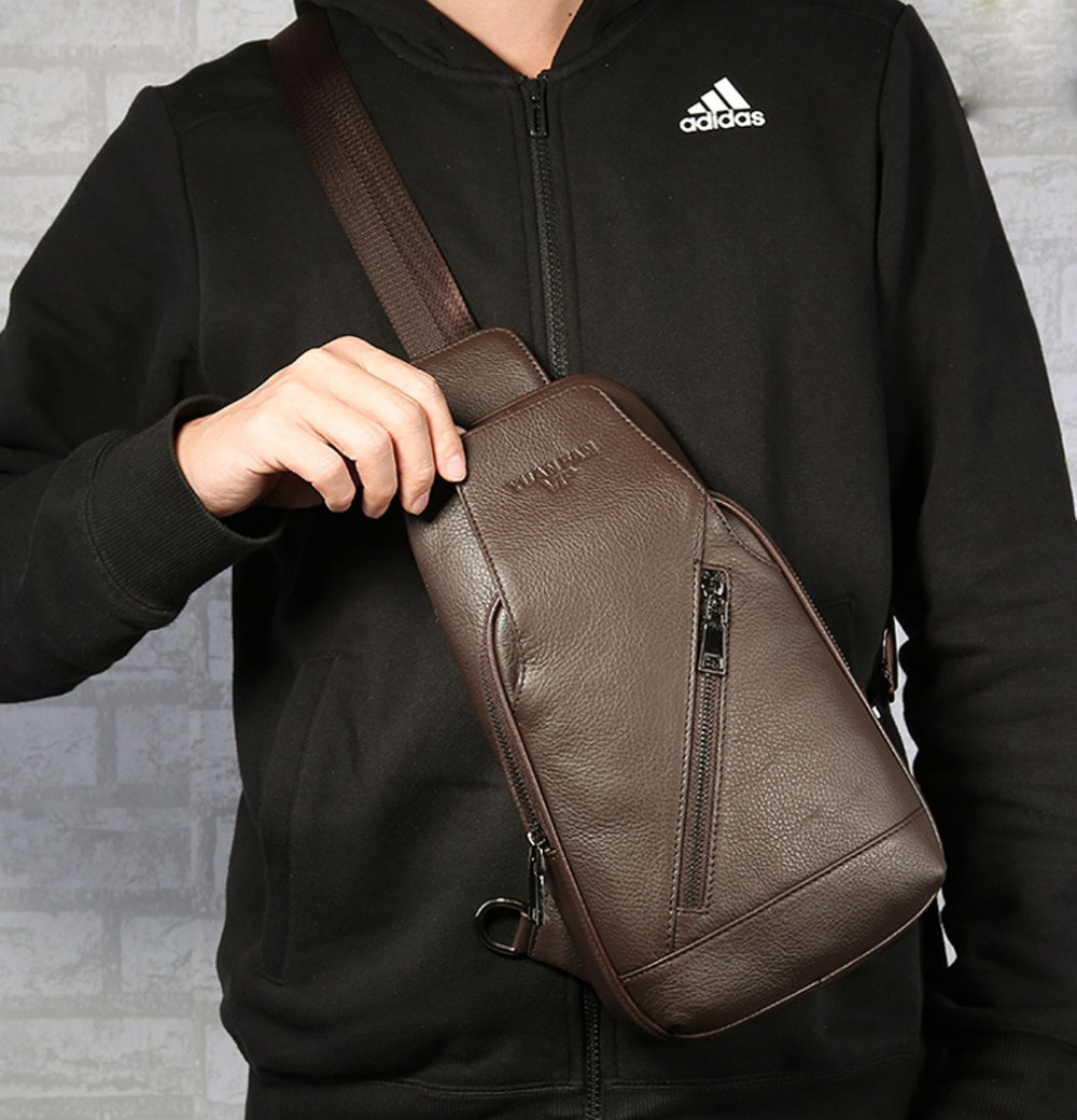 New fashion Men Genuine Leather Travel Shoulder Cross Body Messenger Sling Pack Chest Bag<br>