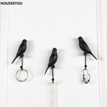 American Decorative Hooks White Black Bird Creative Resin Animal Model Crafts Hooks Bathroom Wall Hanging Key Hook Home Storage