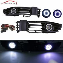 Angel Eyes Front Bumper Fog Lamp Grille Grill + LED Convex lens Fog Light For 2001 - 2005 VW Passat GLS GL B5 B5.5 CAR-P365 C/5