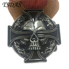 Luxury Men Belt Buckles Metal Skull & Cross Mens Designer Silver Belt Buckles New Year Gifts 1pc Free Shipping(China)