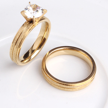4mm fringe gold color Scrub zircon couple wedding rings for men women lovers 316L Stainless Steel  wholesale