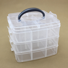 3-layers desktop storage box makeup organizer clear Plastic Storage Box Jewelry case Organizer Cabinets for small objects(China)