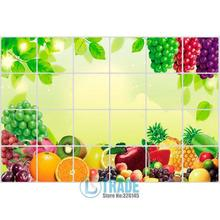 Free shipping 2pcs/lot 60*90cm large Oil Proof Aluminum Foil fruit Sticker in the Kitchen ,cupboard door WallPaper Decal A145
