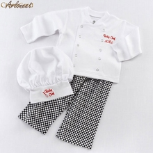 2017 FASHIONChef Cosplay Outfits Baby Boys Baby Chef T-Shirt Tops+Pants Cap Kids Clothes Set oct(China)