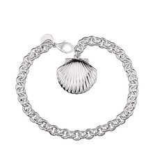 Beautiful seashells frame silver plated bracelets Classic high quality fashion jewelery Cheap Wholesale free shipping