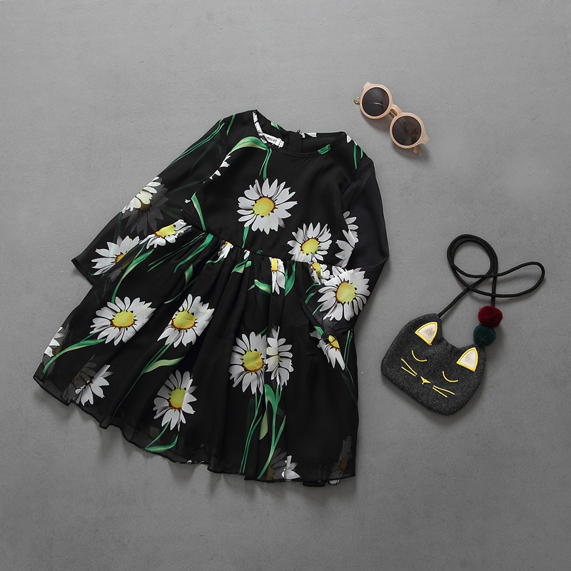 new arrivals dress summer vestidos daisy girls dress long sleeve girls clothes veil dreses<br><br>Aliexpress
