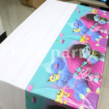108cm*180cm Baby Shower Happy Birthday Party Trolls Cartoon Theme Tablecover Plastic Kids Favors Tablecloth Decoration Supplies